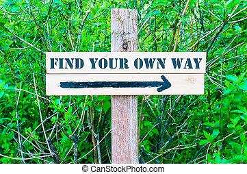 發現, 你, 自己, 方式, 方向的跡象