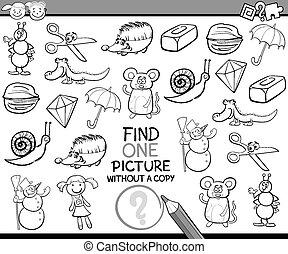 發現, 單個, 圖片, 游戲, 卡通
