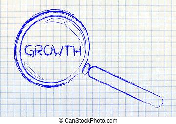 發現, 成長, 在, 事務, 放大鏡, 設計