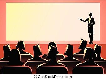 發表講話的女企業家, 上, 大的屏幕