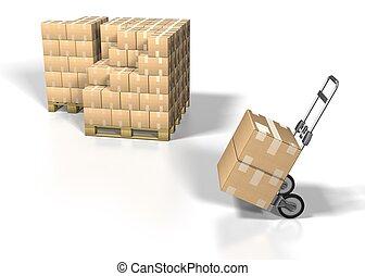 發貨, 箱子, 在懷特上, bacground