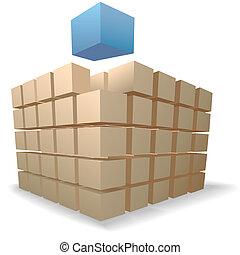 發貨, 箱子, 難題, an, 摘要, 立方, 上升, 向上, 從, 堆