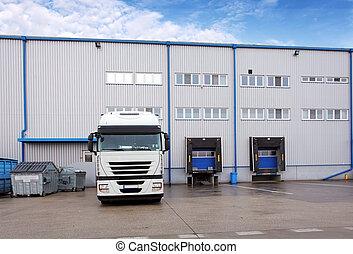 發貨, 貨物卡車, 在, 倉庫, 建築物