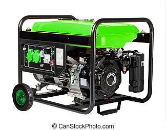 發電机, 柴油, 電, 便攜式, 白色, 背景。