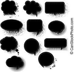 白いスピーチバブル, レトロ, 背景, 黒