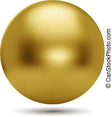 白いボール, 背景, 隔離された, 金