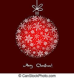 白いボール, 雪片, 背景, クリスマス