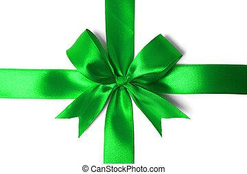 白いリボン, 緑, 隔離された, 背景