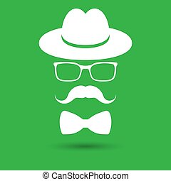 白い帽子, ガラス, タイ, gre, 口ひげ, 弓, 隔離された