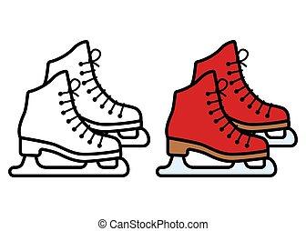 白い背景, スケート, アイコン, イラスト, ベクトル