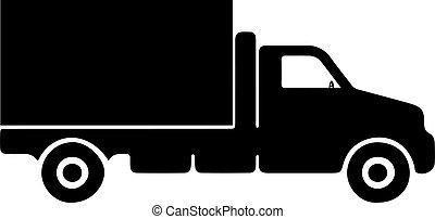 白い背景, トラック, アイコン, 隔離された