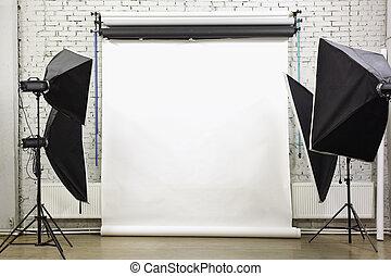白い背景, 中, スタジオ, -, ライト, 部屋, ∥で∥, ランプ, そして, スポットライト