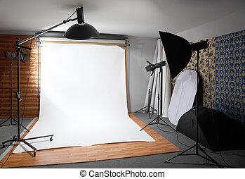 白い背景, 中, スタジオ, -, 暗室, つけられる, 大きい, ランプ, そして, スポットライト