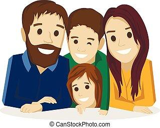 白い背景, 家族, 子供