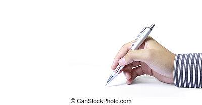 白い背景, 手, ペン