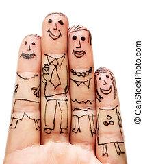 白い背景, 指, 家族, 隔離された