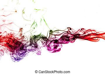 白い背景, 有色人種, 煙, 隔離された