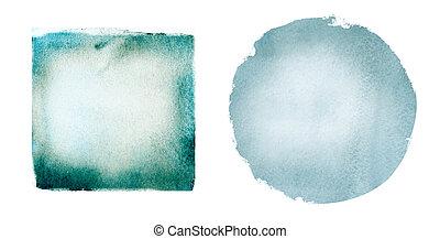 白い背景, 水彩画, 円, 広場, 2