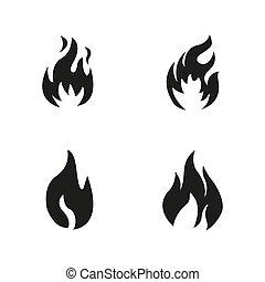 白い背景, 炎, アイコン, 火, ベクトル, シンボル