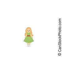 白い背景, 緑, 人形, 服, 女の子, わずかしか