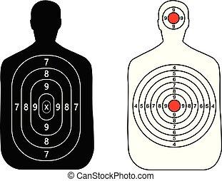 白い背景, 銃, 人間, ターゲット