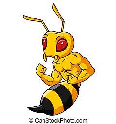 白い背景, 隔離された, スズメバチ, 漫画, マスコット, 筋肉