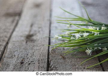 白い花, 上に, 木製である, 背景