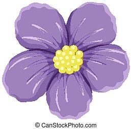 白い花, 紫色の背景