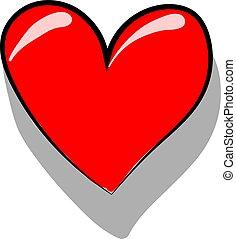 白い赤, 心, バックグラウンド。, ベクトル, イラスト