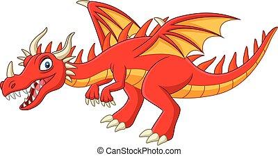 白い赤, 漫画, 背景, ドラゴン