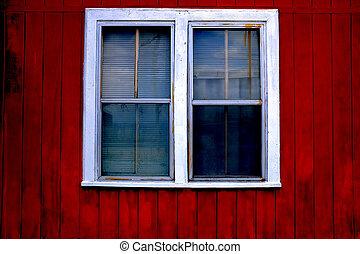 白い赤, 装飾, ペンキ, 窓の家