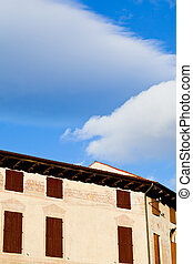 白い雲, 中に, 青い空, 下に, 中世, 家