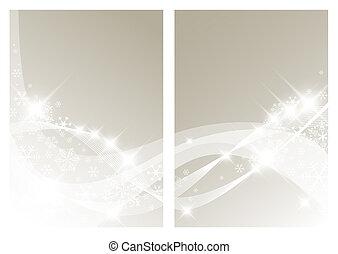 白い クリスマス, 背景, 雪片