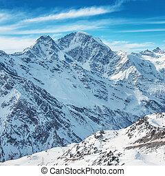 白い 山, 中に, 雪