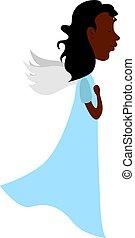 白人の天使, バックグラウンド。, ベクトル, イラスト