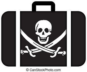 白棉布, 千斤頂, 海盜, flag., 小提箱, 圖象, 旅行, 以及, 運輸, 概念