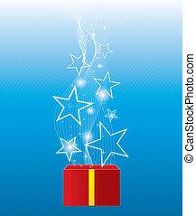白熱, 星, 浮く, giftbox