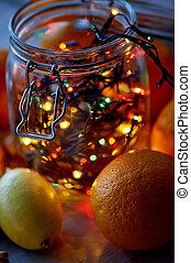 白熱, 瓶。, 新しい, 花輪, テーブル。, 柑橘類, ガラス, 年の