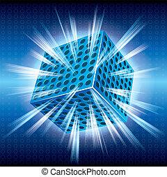 白熱, 立方体, 背景, blue.