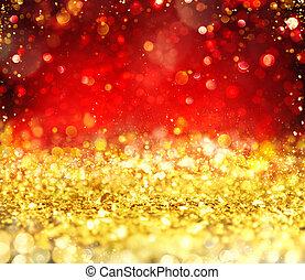 白熱, 赤い背景, 金, クリスマス