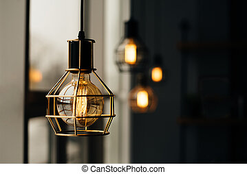 白熱, 電球, スタイル, 屋根裏, ライト