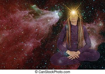 白熱, mysticism., これ, 供給される, イメージ, に対して, 背景, paranormal, 女の子, 星, 見なさい, 能力, soulful, シンボル, sky., nasa, 星が多い, mind., 額, 開いた, 要素, 千里眼
