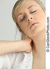 白膚金發碧眼的人, 女孩, 由于, 脖子, 疼痛