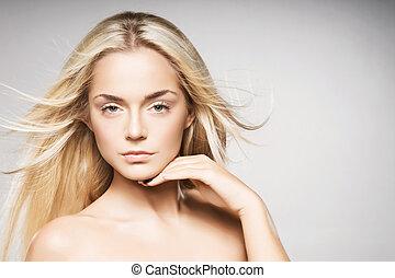 白膚金發碧眼的人, 皮膚, 灰色, 背景。, 矯柔造作, 純淨, 華麗