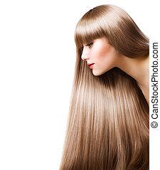 白膚金發碧眼的人, hair., 美麗的婦女, 由于, 直接, 長的頭髮麤毛交織物