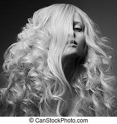 白膚金發碧眼的人, woman., 卷曲, 長, hair., bw, 時裝, 圖像
