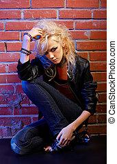白膚金髮, 女孩, glam, 搖滾歌手