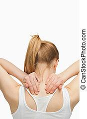 白膚金髮, 婦女, 按摩, 她, 痛苦, 脖子