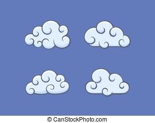 白色的云霧, 上, 藍色的天空
