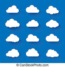 白色的云霧, 上, 藍色的天空, 由于, 長, 陰影